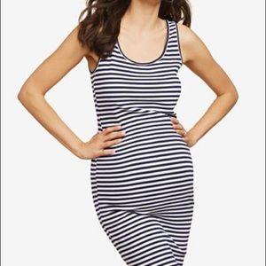 Motherhood Blue & White Sleeveless Striped Dress